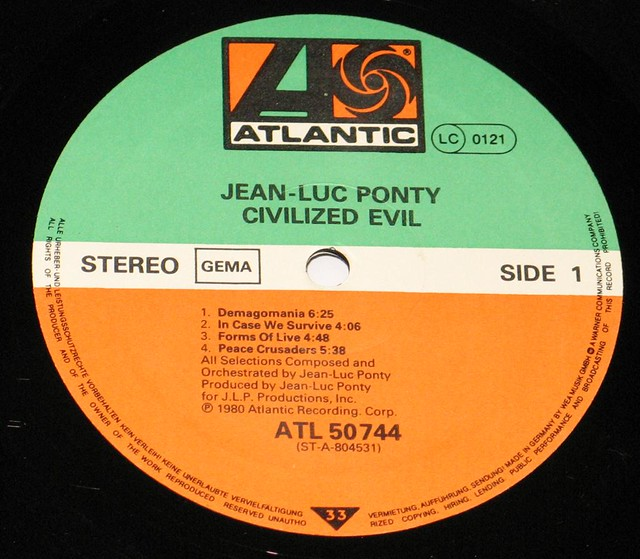 Jean-Luc Ponty Civilized Evil Promo Copy