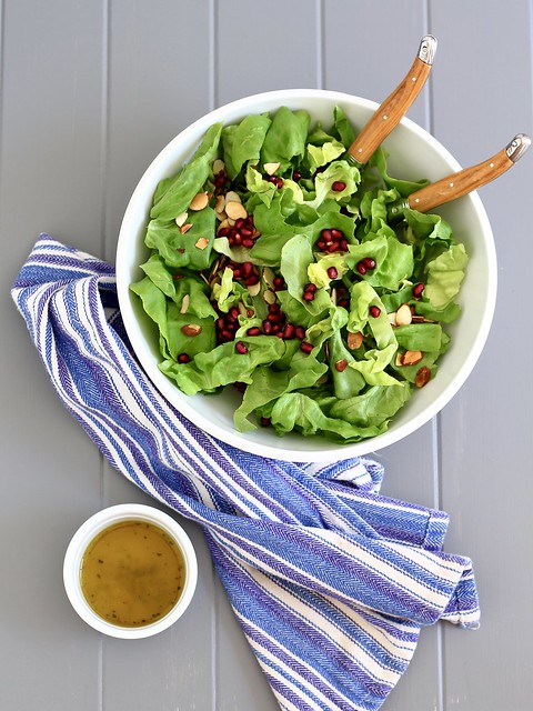 Lettuce Salad with Pomegranates and Almonds