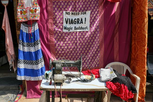 """No need for Viagra"" catchy phrase at a souvenir shop, Jaisalmer, India ジャイサルメール 面白いキャッチフレーズのお土産屋"