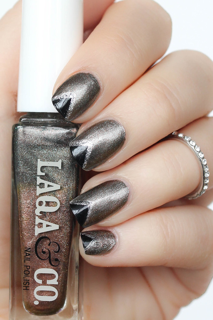 Metallic Black Triangle Manicure Nail Art Laqa & Co Polish Ankle Biter | Beauty | Living After Midnite