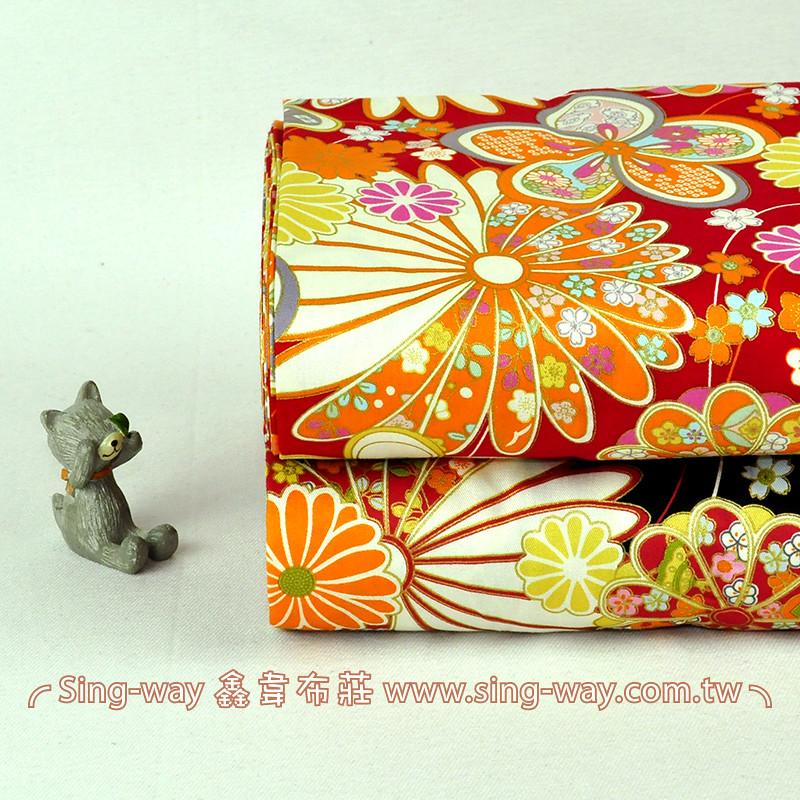 燙金邊日式團菊 日式和風 精梳棉床品床單布料 節慶佈置 紅包袋 CA490348