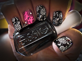 Black, Pink, White Nails | by sugas