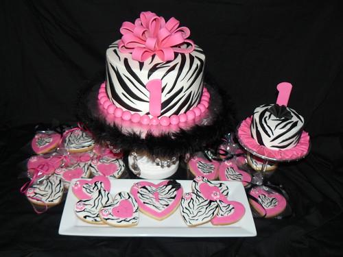 Hot Pink and Zebra | Hot pink and zebra 1st birthday cake ...