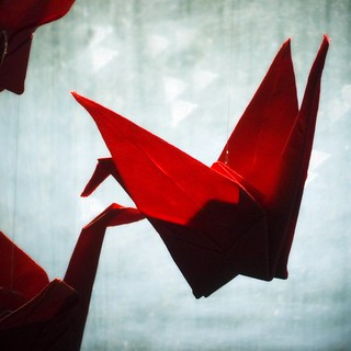 red fabric origami cranes | by Smallest Forest