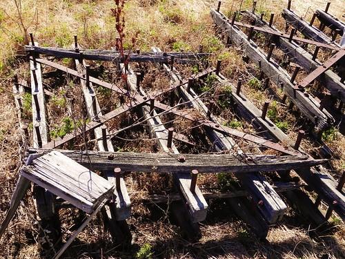 Harrow Drag Frame : Wood frame steel spike drag harrow abandoned farm