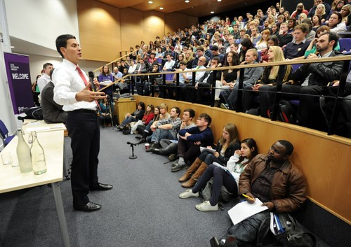 David at a Q&A in Leeds as part of his Universities tour | by David Miliband