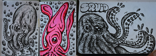 Squids and Octopus - sketches | by Marcos D. Torres