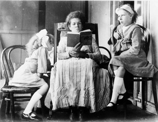 "Mother reading to girls - Scone area, NSW, by - James Brindley Leard L to R: Marjorie Leard, Mary Rose Leard, Evelyn Leard ""Meadulegular"" Kars Springs, c. 1913 