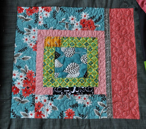 king size quilt, block 1 quilted | by vickivictoria