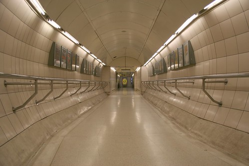 Empty tunnel at Waterloo Station