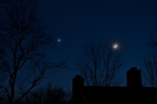 Waxing Crescent Moon & Venus | by Truebritgal