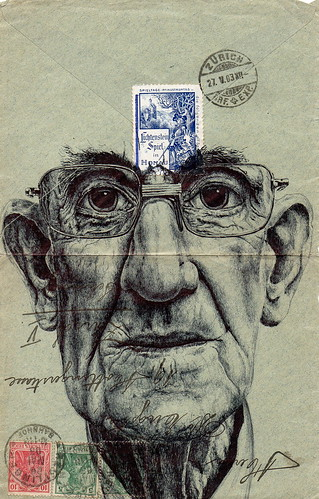 bic biro on 1903 german envelope | by mark powell bic biro drawings