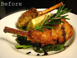 Fried Lamb Chops with Reduced Balsamic and Rosemary Sauce and Grilled Polenta w/ Broccoli di Rape | by SeppySills