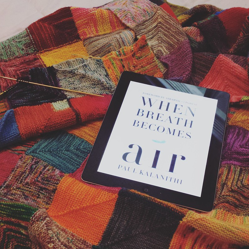 I almost skipped reading this one when it finally became available through the library. I'm glad I didn't, it was such a good one, I cried  knitting some squares before I start into a new book.