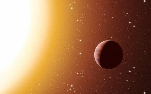Artist's impression of a hot Jupiter exoplanet in the star cluster Messier 67