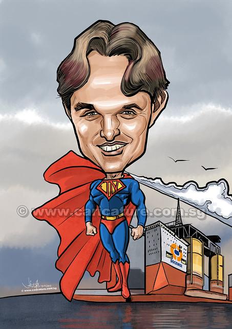 Superman digital caricature (watermarked)