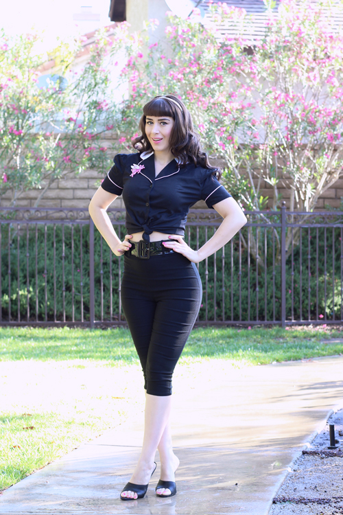 Campbell Crafts 1950's Limited Edition Diner Shirt in Black Pinup Girl Clothing Capri Pants in Black