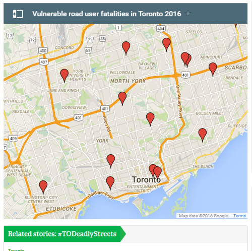 Metro Toronto newspaper mapping of pedestrian and cyclist deaths