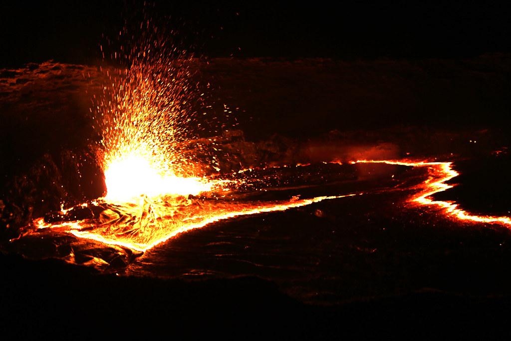 splash. Erta Ale volcano lava lake.