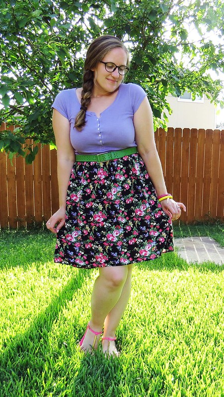 Floral T-Shirt Dress Refashion - After