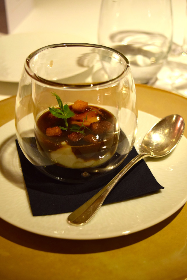 Poached Egg in a Red Wine Reduction at Hostellerie de L'Imaginaire | www.rachelphipps.com @rachelphipps