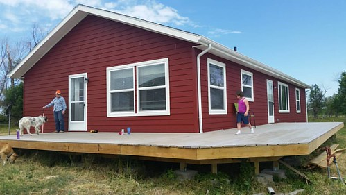 We got the top of the decking done this weekend. Mikaela did a happy dance.