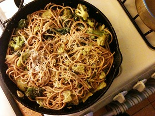 broccoli cooked (almost) forever, with farro spaghetti | by Jenblossom