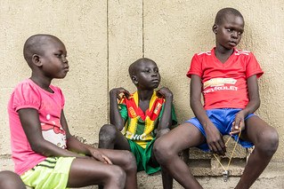 Kueth Tney,13, Nyamuoch Gatdet, 9 and Nyatayin Both, 25, (from left to right) victims of the abduction during a deadly cross border raid on 15 April.