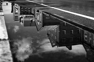 South Main Street facades in a puddle | by @archphotographr