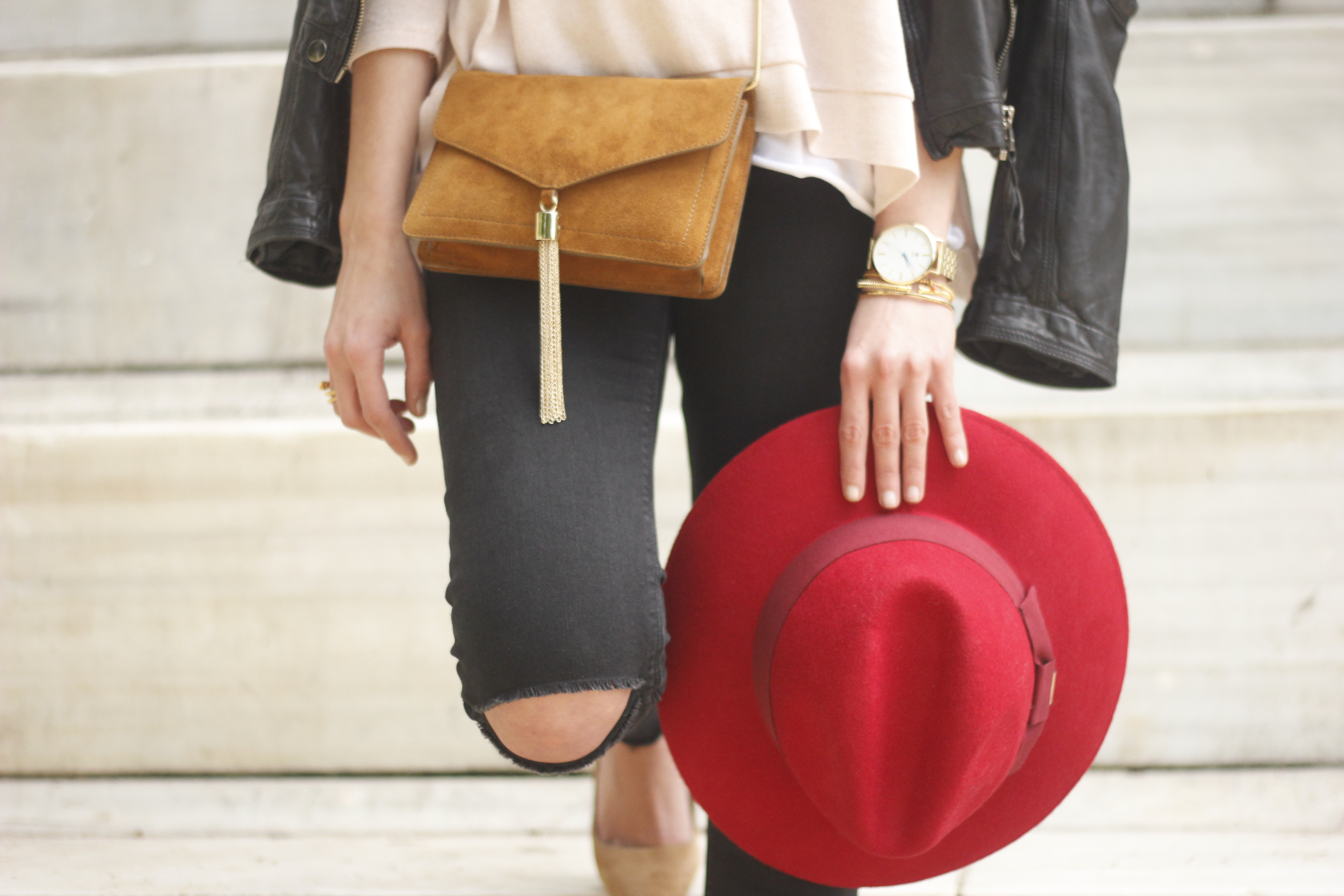 black biker jacket ripped jeans red hat camel bag outfit fashion style spring16