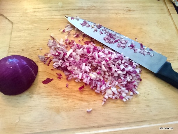 dicing the red onion
