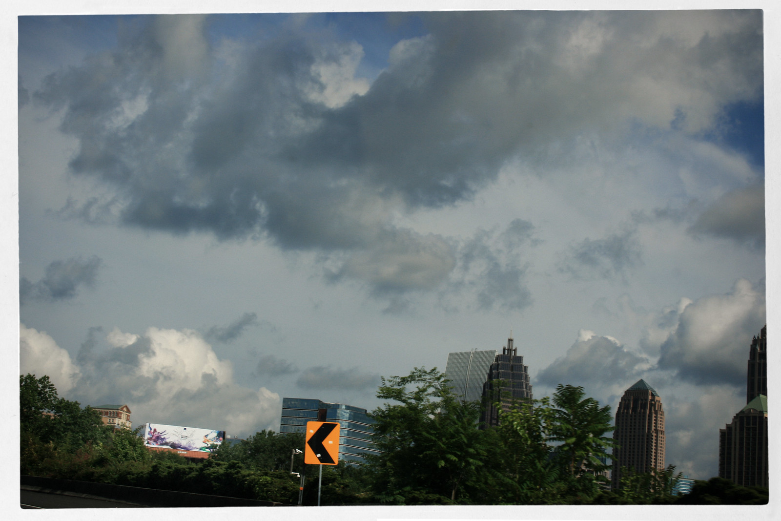 Midtown Atlanta Skyline with Clouds and Sweet Off-Ramp Curve