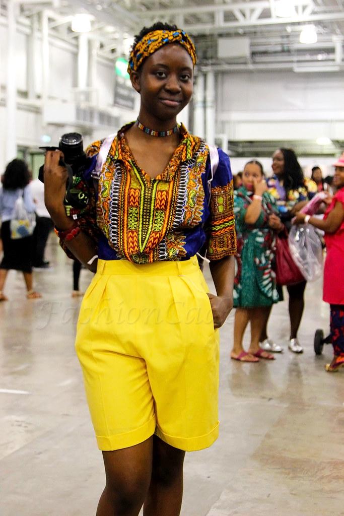 yellow-high-waist-shorts-with-a-kaftan-dashiki-print-shirt-ankara-kitenge-headscarf-and-biker-boots