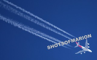 Qantas Airbus 380 ( VH-OQD) FL 350 From London Heathrow via Singapore to Sydney ContrailShot | by ShotsOfMarion
