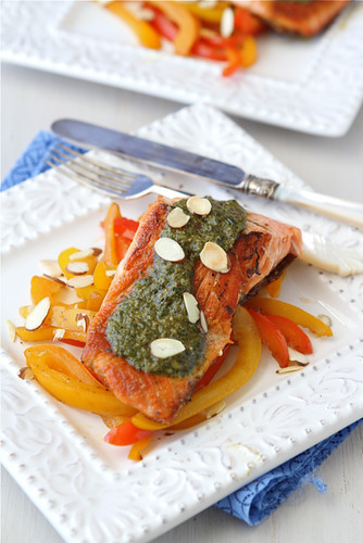 Seared Salmon with Pesto, Sauteed Peppers & Toasted Almonds Recipe | by CookinCanuck