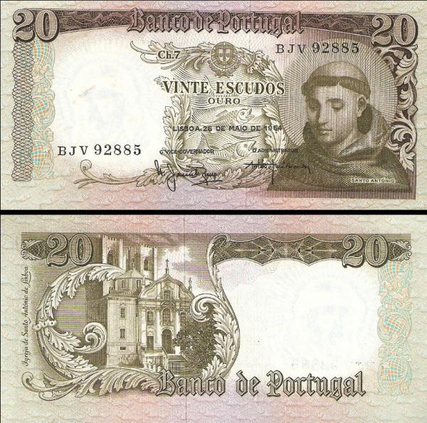 20 Escudos Portugalsko 1964, P167
