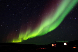 Northern Lights over the cabins | by StreamsidePhotography