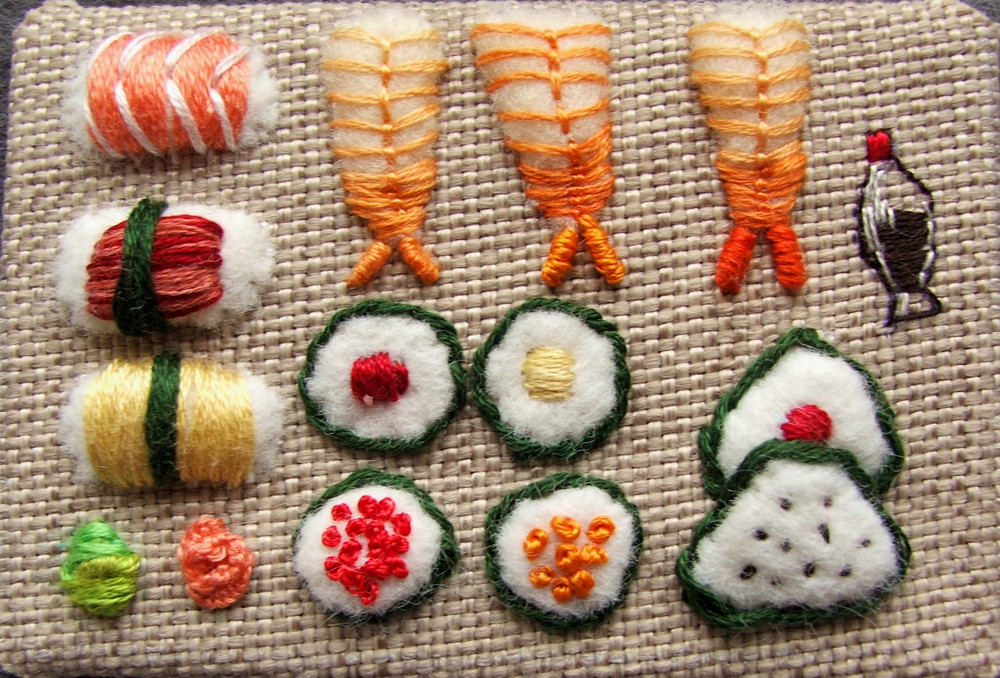 sushi embroidery
