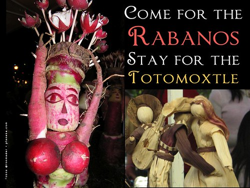 Here's my promotion of Christmas in Oaxaca with a slogan that sums up what I've learned in 10 years: Come for the Rabanos, Stay for the Totomoxtle