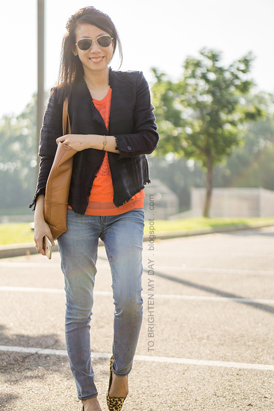 navy tweed jacket, orange lace tank, lightwash jeans, cognac brown tote, leopard flats