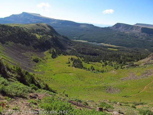 Mountains, cliffs, lakes, and valleys from the Causeway Trail in Flat Tops Wilderness, Colorado