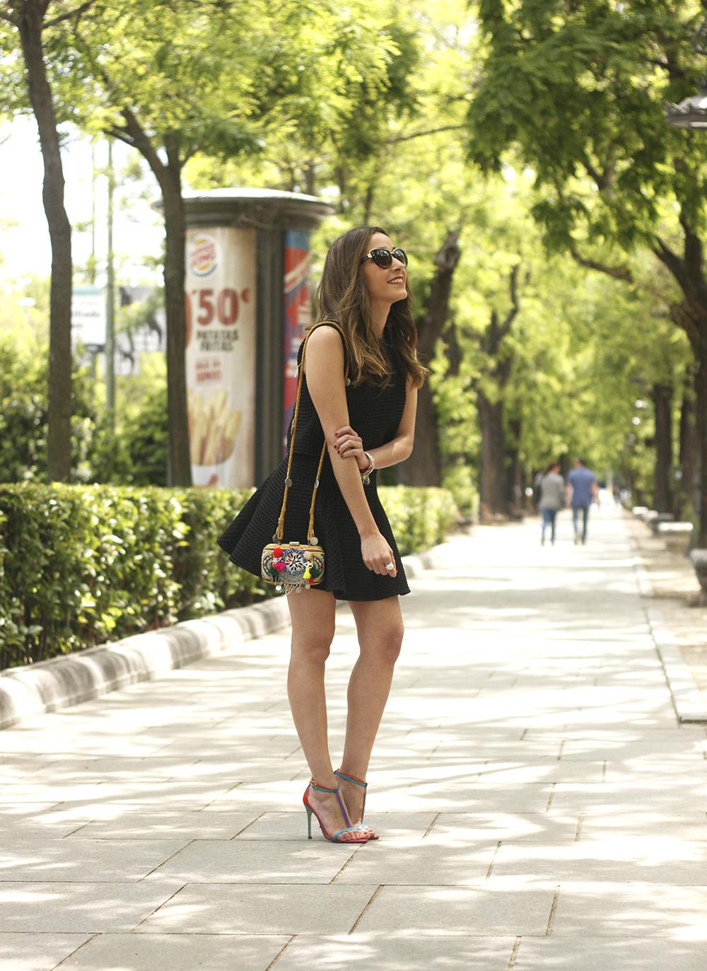 Little black dress maje carolina herrera sandals bag outfit fashion style summer sunnies10