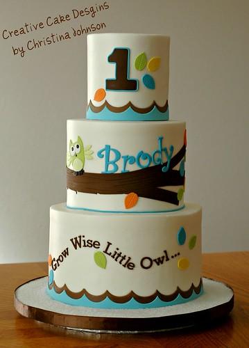 Owl 1st Birthday Cake  Buttercream cake fondant details. De ...