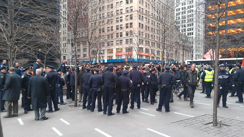 There are absolutely more NYPD at Zuccotti than protesters #OWS | by agreatbigcity