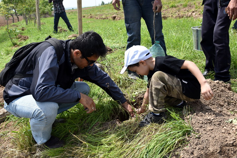 Pistachio tree planting event in Uzbekistan organized by CACILM II.
