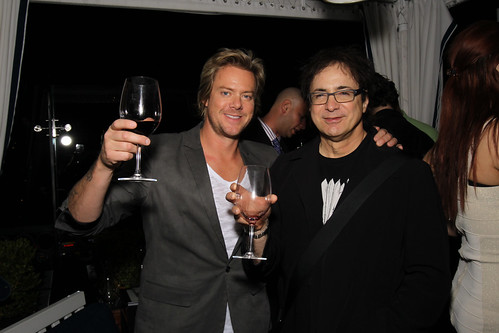 Scott Underwood (left), drummer for the band Train, at Jordan Vineyard & Winery's 40th Anniversary celebration, held on The London Hotel rooftop in West Hollywood, California, USA on Monday, April 23, 2012 | by jordanwinery.com