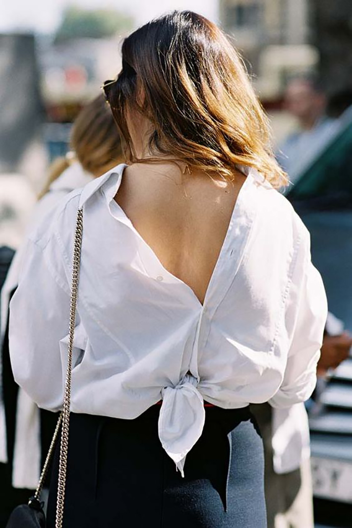 knotted shirt inspiration street style fashion outfit9