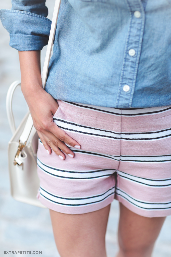 loft petite pink striped shorts summer fashion