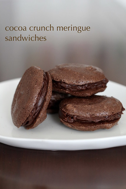 cocoa crunch meringue sandwiches