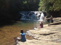 The Girls and a Guy Fishing at Dicks Creek Falls